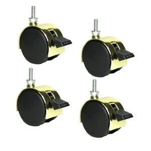 Set Of 4 Shepherd Pacer Twin Wheel 2 Caster Bright Brass Finish With1 4 20
