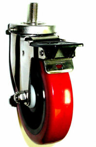 New Stainless Steel Caster With 5 Wheel Total Lock Brake W 1 2 Threaded Stem