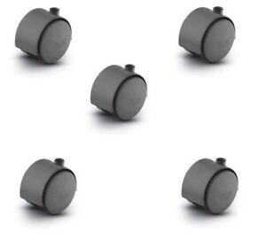 Set Of 5 Replacement Twin Wheel Swivel Casters With 50mm Wheels 2 No Stems