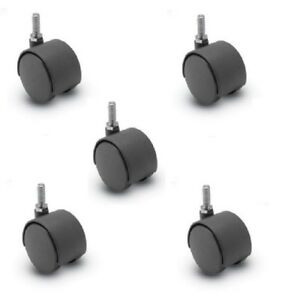 clearance 5 Casters Twin 2 Wheels And 5 16 X 3 4 Tall Threaded Stems