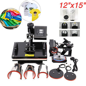 8in1 Lcd Dual Digital Transfer Sublimation Heat Press Machine T shirt Mug 15x12
