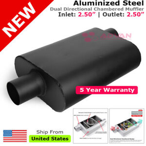 Aluminized Steel Chamber Muffler 2 5 Inches Offset In Center Out Black 211736