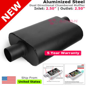 Aluminized Steel Chamber Muffler 2 5 Inches Offset In Center Out Black 211752