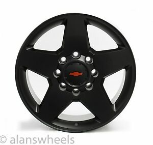 4 Chevy Silverado Hd 2500 3500 8 Lug 8x6 5 20 Black Rbt Wheels Rims Lugs 5503