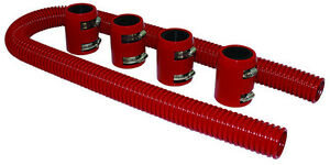 48 Red Stainless Flexible Radiator Hose Kit W Billet Clamp Covers Chevy Ford