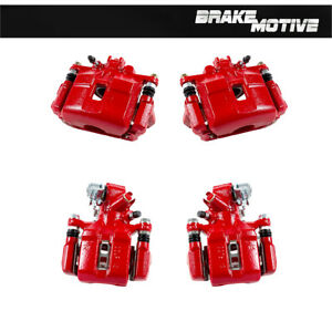 Front Rear Red Calipers For 2002 2003 2004 2005 2006 Acura Rsx Type S