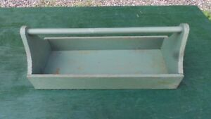 Vintage Wooden Tool Work Box Old Green Finish 26 Long