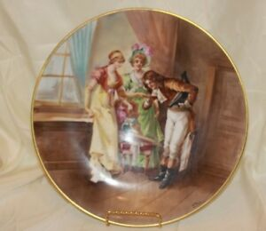 Large Limoges Hand Painted Charger Plate Platter Signed Dubois Gold Edge 13