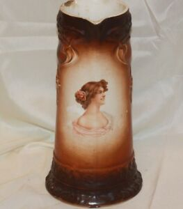 Antique Tankard Pitcher 12 Owen Minerva Victorian Woman Dog Handle Pottery