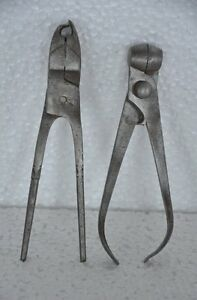 2 Pc Old Iron Solid Handcrafted Unique Bullet Making Tools  Nice Patina