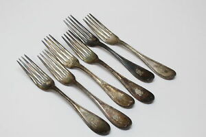 6 Vintage Hall Elton Silverplate Dinner Forks W Monogram