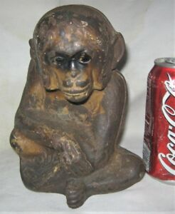 Antique Usa Cast Iron Monkey Art Statue Sculpture Doorstop Hubley Door Weight Us