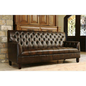 84 l Bonded 2 Tone Brown Leather Tufted Artsy Sofa wood Legs