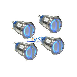 4x Durable 12v 19mm Car 2 Position On off Blue Angel Eye Led Selector Switch