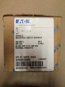 New In Box Cutler Hammer Hfd 65k 3 Pole 200 Amp 600v Hfd3200 Circuit Breaker Red