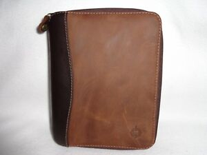 1996 Franklin Covey Usa 2 tone Browns Full grain Leather Compact Zipper Planner