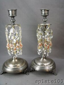 Pair Of Whimsical Silver Plate Candlesticks With Art Glass Swirl Prisms