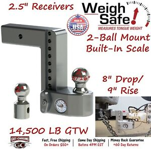 Ws8 2 5 Weigh Safe 2 5 Receiver Adjustable Ball Mount Hitch W 8 Drop 9 Rise
