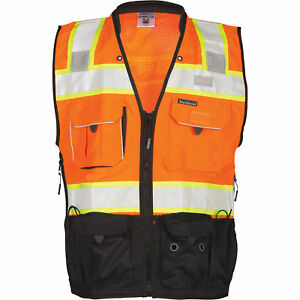 Ml Kishigo Men s Class 2 High Vis Surveyors Vest Orange black Xl
