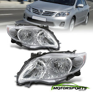 Fits 2009 2010 Toyota Corolla Oe Factory Style Chrome Headlights Headlamps Pair
