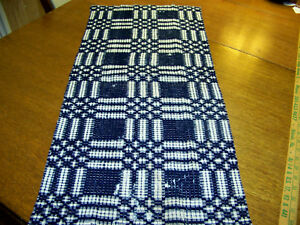 Antique Indigo White Woven Coverlet Runner Piece
