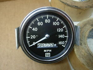 Vintage Stewart Warner 160 Mph Speedometer W Bracket Light Chevy Ford Mopar