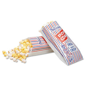 Bagcraft Papercon Blue red white Pinch bottom Paper Popcorn Bags pack Of 2000