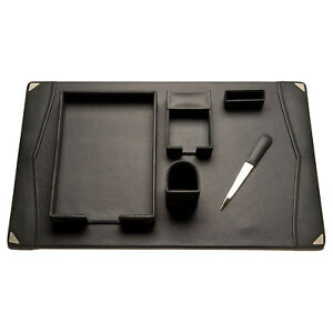 Bey Berk Grey Leather 6 piece Desk Set