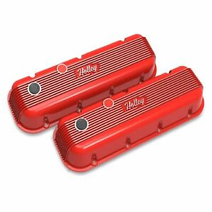 Holley 241 303 Red Vintage Series Finned Valve Covers For Big Block Chevy Engine