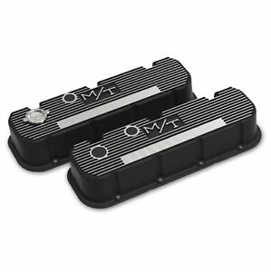 Holley 241 152 Black Tall Finned M T Valve Covers For Big Block Chevy Engines