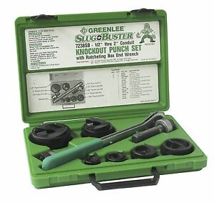New Greenlee 7238sb Usa Made Slug buster Ratchet Wrench Knock Out Set 1 2 2