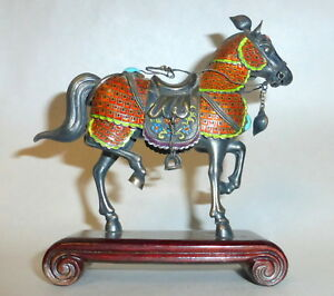 Vintage Made In China Silver Cloisonne Enamel Horse Figurine W Stones