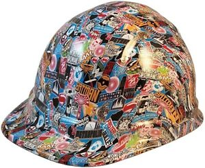 Super Hero Sticker Bomb Hydro Dipped Cap Style Hard Hat With Ratchet Suspension