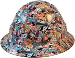 Super Hero Sticker Bomb Hydro Dipped Full Brim Hard Hat W ratchet Suspension