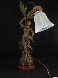 Antique French Figural Lamp Harvest Paris Foundry Stamp Woman Wheat Works Vgc