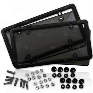 Zone Tech 2x Unbreakable Tinted Smoked License Plate Tag Shield Cover And Frame