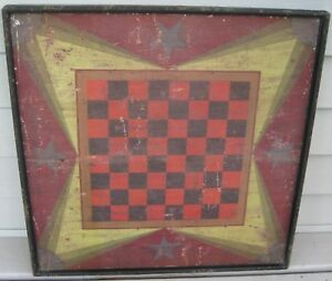 Vintage Sensational Wooden Gameboard Checkerboard Folk Art Warren Kimble