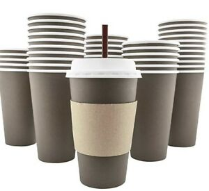 Disposable Hot Paper Coffee Cups Lids Sleeves Stirring Straws To Go