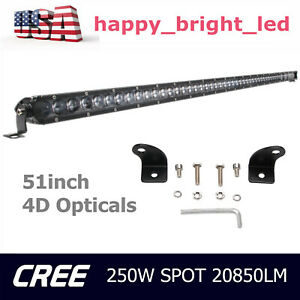 250w 51 Single Row 4d Spot Led Work Light Bar Dodge Ram Ford 288w 50 300w 52