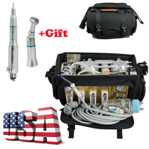 Portable Dental Unit Bag Turbine Treatment Unit Air Compressor Suction System 4h