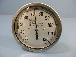1 New Miller Company Inc 1848 251 0 125 F Thermometer 9 Lg Stem 5 Dial