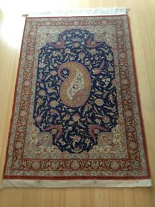 Genuine Silk Unique Hand Knotted Authentic Persian Qom Rug 32 X 48