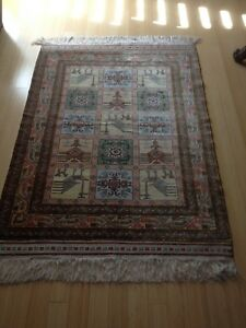 Genuine Silk Unique Hand Knotted Authentic Persian Qom Rug 45 X 62