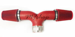 Coated Red Dual For 2004 2007 Dodge Durango 5 7l V8 Twin Air Intake System Kit