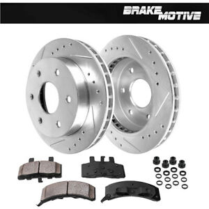 Front 2 Drill Slot Brake Rotors And 4 Ceramic Pads For Chevy Gmc 4wd 4x4 6lug