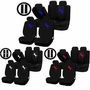 22pc Pony Horse Mustang Red Blue White Seat Covers Steering Wheel Set Universal