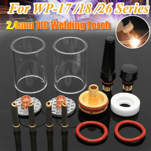 14x Tig Welding Torch Stubby Gas Lens Glass Cup Kit For Wp17 18 26 2 4mm 3 32