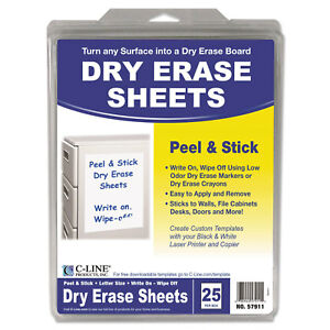 C line Peel And Stick White Dry Erase Sheets box Of 25