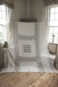 Vintage French Coverlet Lace Crochet Bedcover Bed Cover Spread Bedspread