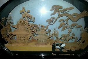 Old Chinese Cork Carving Landscape In Black Lacquered Glass Case Awesome